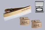 Two Tone Gold Tie Clip & Cufflinks Set