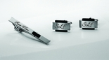 Black Accent Silver Cufflinks & Tie Clip Set