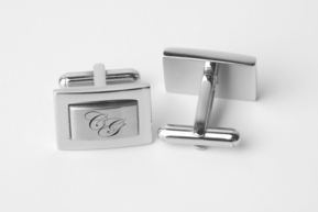 Two Tone Stainless Steel Rectangle Cufflinks
