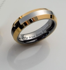 Two Tone Silver & Gold Tungsten Ring 4mm