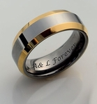 Two Tone Silver & Gold Tungsten Ring 6mm