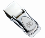 Two Tone Silver Teardrop Hinged Money Clip