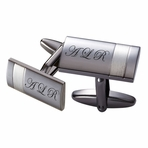 Two Tone Striped Gunmetal Cufflinks