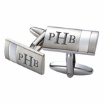 Two Tone Striped Silver Stainless Steel Cufflinks