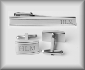 Verona Two Tone Cufflinks & Tie Clip Set