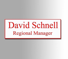White and Red Name Badge 1x3