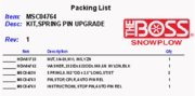 Boss Spring Pin Upgrade Kit, P/N MSC04764
