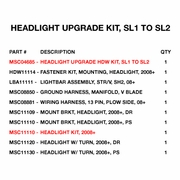 Headlight Upgrade Kit, SL1 to SL2, P/N MSC04898