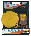"Ratchet Strap 2"" x 27' w/ Double J Hooks, Buyers RTD12271J"