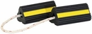 "Rubber Wheel Chock Pair w/Rope, 4"" x 4"" x 8"", Buyers WC24483"