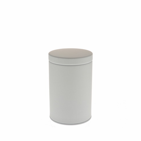 2 Different Size Matte White Tea Canisters, 100 or 200 Grams