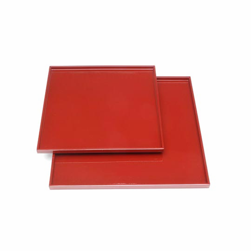 """2 Glossy Red Laquerware Plastic Serving Trays, 11-3/4 & 14-1/4"""" Sq."""