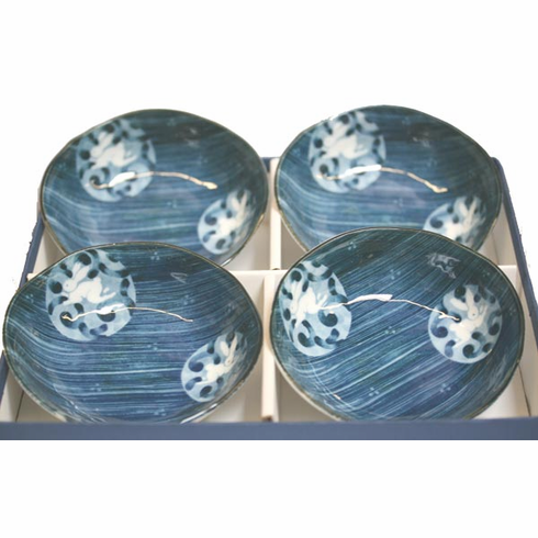4 Brush Stroke Bunny - Hakeme  Usagi Bowl Set