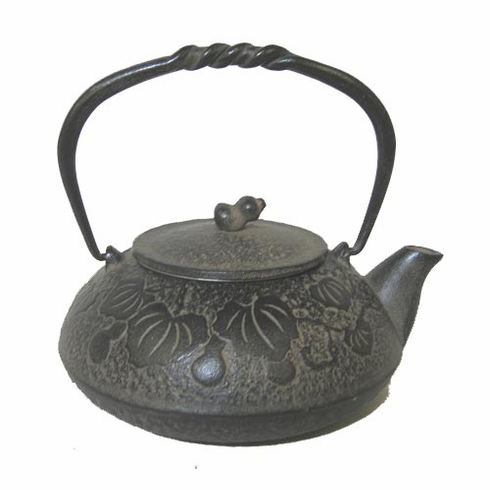 Antique Brown Color Gourd Cast<br> Iron Teapot 20 oz.
