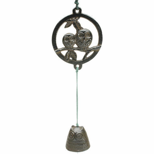 Antique Brown Three Owl  Cast Iron Wind Chime