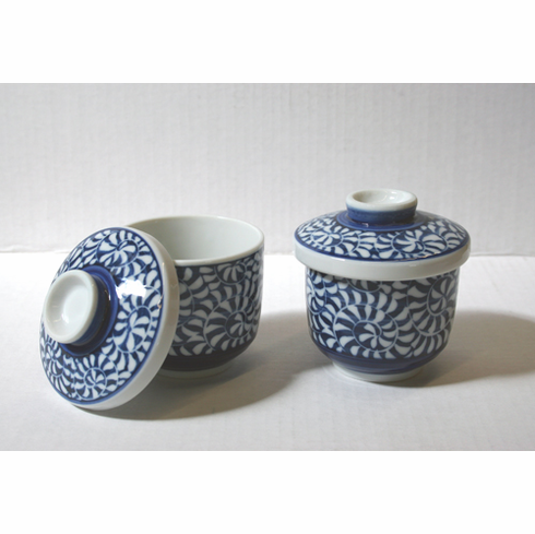 Arabesque Pattern Chawan-Mushi or  Custard Cup with Lid Set