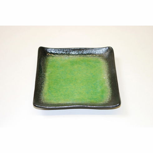 "Ariake Green with Black Rim Square Plate 7"" Sq. or 8-1/2"" Sq."