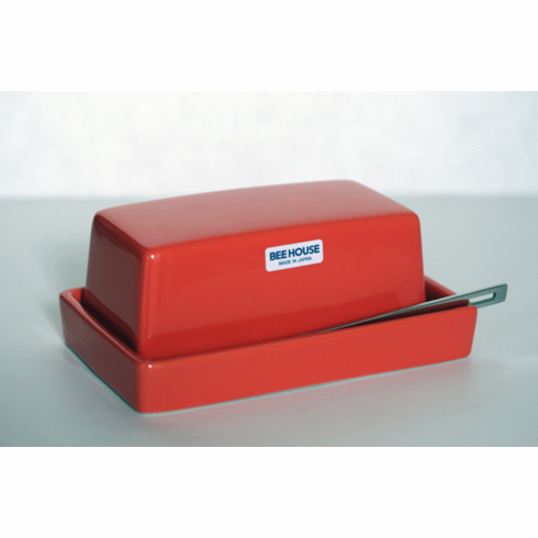 Bee House Butter Dish in Tomato Color with Stainless Steel Butter Knife