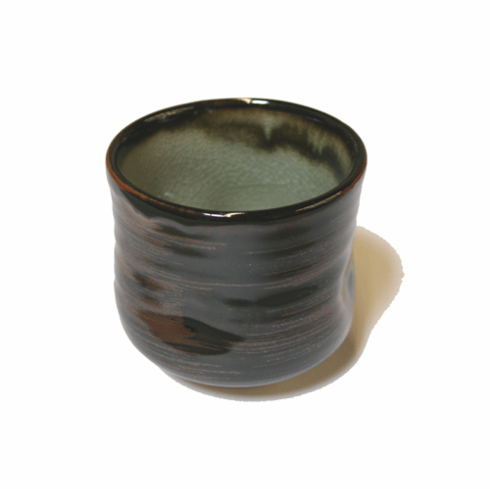 Black &  Brown Glaze Tea Cup, 12 oz.