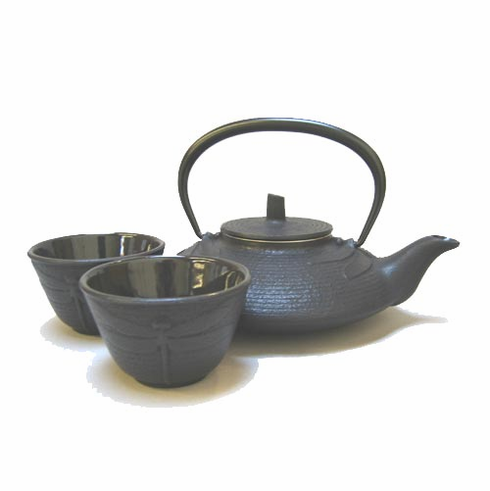 Black Dragonfly Cast Iron Teapot 16 oz. and Two Tea Cups Set