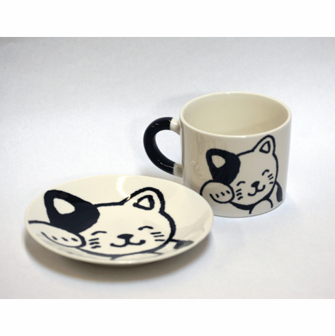 Black Happy Cat Mug & Plate Set, 12oz.