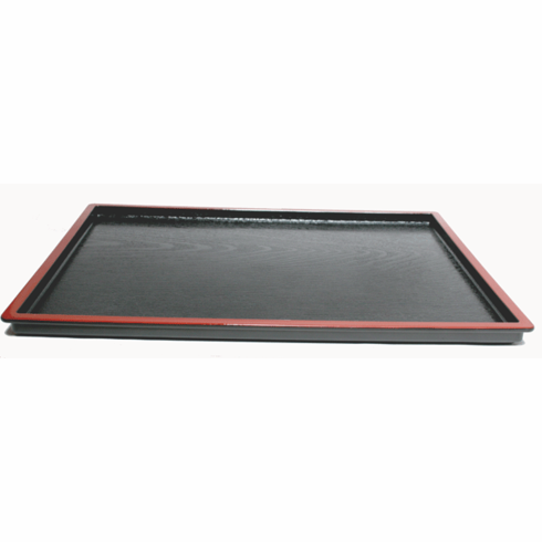 "Black Lacquerware Tray with Red Rim, 15-1/4"" x 11-3/4"""