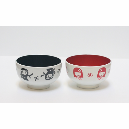 Black Ninja or Red Kokeshi Soup Bowls