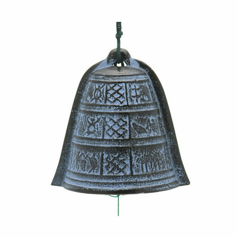 Blue and Black Cast Iron Yayoi Bell <br> Wind Chime