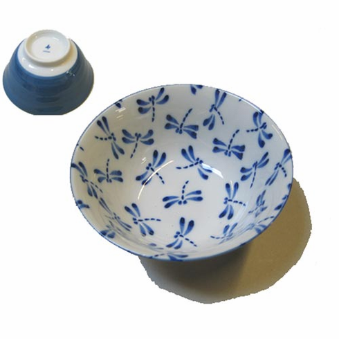 """Blue and White Dragonfly Bowl 6"""""""