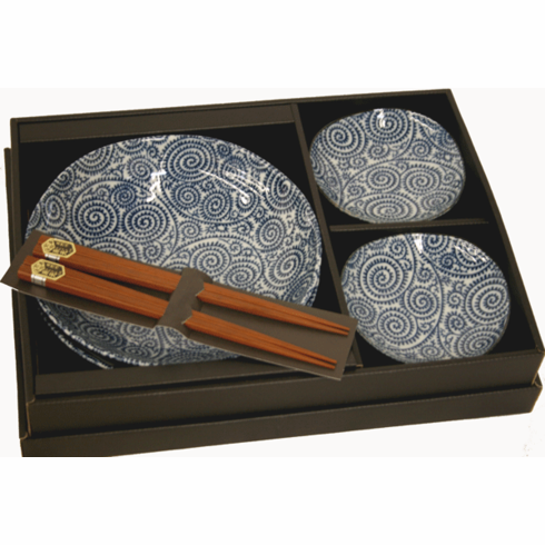 Blue and White Sushi Plates and Chopsticks Set