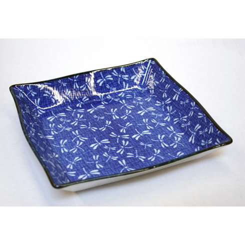 """Blue Dragonfly Square Plate<font color=red><i>"""" Sold Out""""</i></font>"""