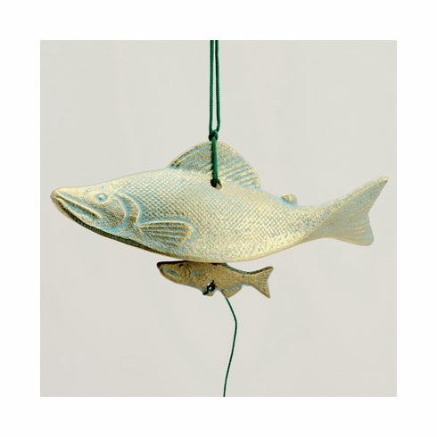 Blue & Gold Cast Iron Salmon  <br>Wind Chime