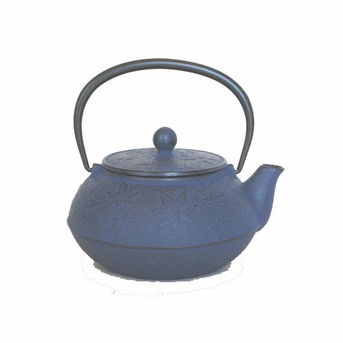 """Blue Maple Leaf Cast Iron Teapot by Iwachu 20 oz.<font color=red><i>""""Temporarily Out of Stock""""</i></font>"""