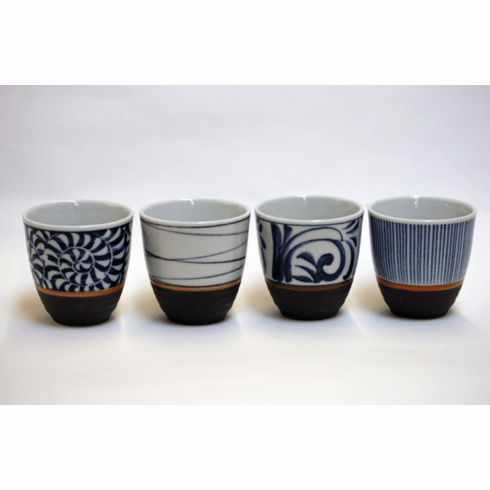 Blue Patterns Black Base Tea Cup Set, 5 oz.