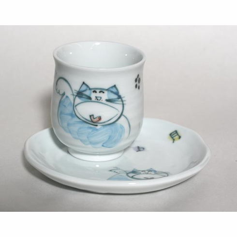 Blue Singing Kitty Tea Cup, 8oz. with Matching Plate
