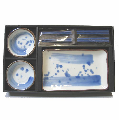 Blue Splash Dishes & Chopsticks Set