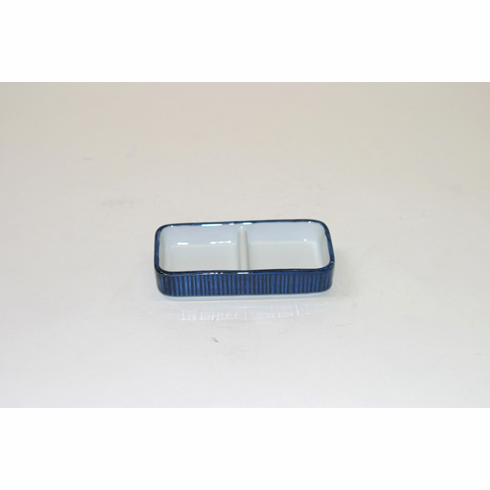 """Blue with White Condiment Plate<font color=red><i>"""" Sold Out""""</i></font>"""