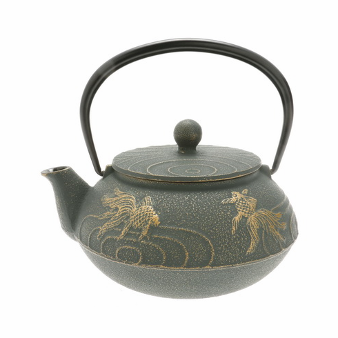 Bronze Goldfish Cast Iron Tea Pot by Iwachu, 20 oz.