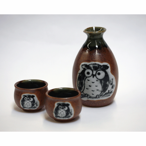 Brown Oribe Owl Sake Container & <br>2 Cups Set