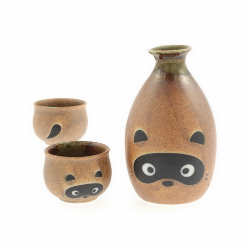 Brown Oribe Racoon Sake Container & 2 Cups Set