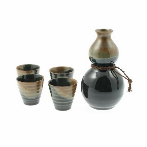 Brown Oribe Sake Container & 4 Cups Set