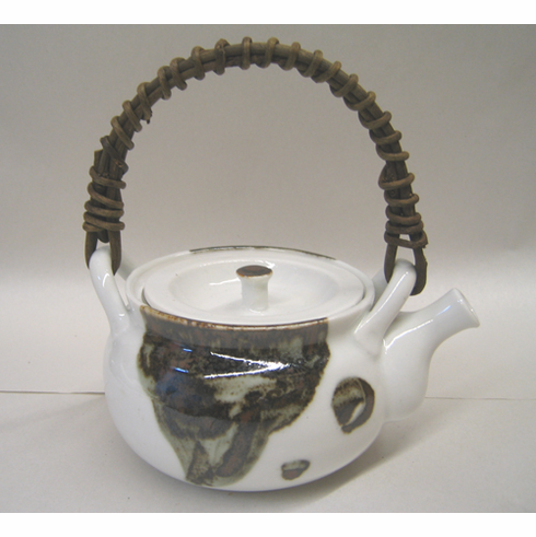 Brown & White Ceramic Teapot