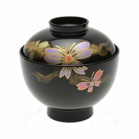 Butterfly  Lacquer Ware Soup Bowl With Lid