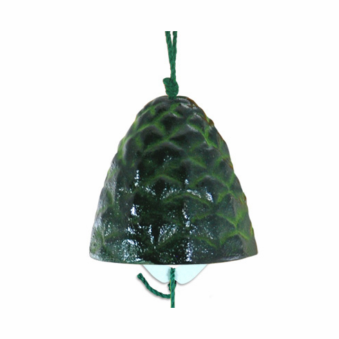 Cast Iron Green Pine Cone Wind Chime