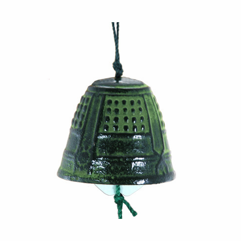 Cast Iron Green Temple Bell Wind Chime