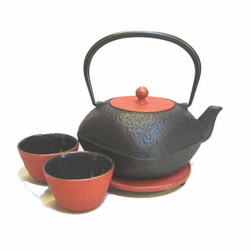 Cast Iron Square Teapot with Rounded Edges 32 oz, Trivet & 2 Cups