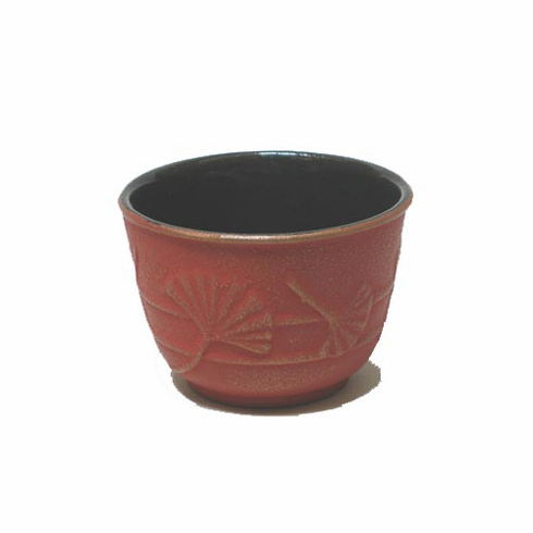 Cast Iron Tea Cup Gold and Red Ginkgo by Iwachu 4 oz.