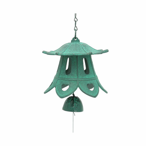 Cast Iron Wind Chime Green Lotus  <br>Temple