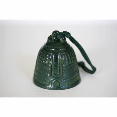 Cast Iron Wind Chime,  Patina Green Temple Bell