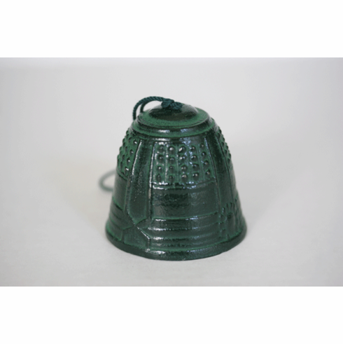 Cast Iron Wind Chime Patina Green Temple Bell
